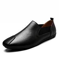 Muškarci Cipele Mekana koža Proljeće Jesen Udobne cipele Natikače i mokasinke Kombinacija materijala za Kauzalni Zabava i večer Obala Crn