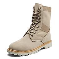 Masculino sapatos Couro Ecológico Outono Inverno Coturnos Botas Botas Cano Médio Cadarço Combinação Para Casual Festas & Noite Bege