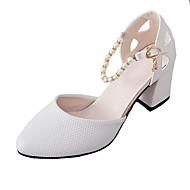 Femme Chaussures Polyuréthane Printemps Eté Confort Escarpin Basique Chaussures à Talons Gros Talon Bout rond Imitation Perle Boucle Pour