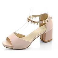cheap Women's Sandals-Women's Shoes Rubber Summer Comfort Sandals Block Heel Open Toe Buckle For Outdoor Blushing Pink Beige White