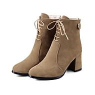 זול נעליים מידות מורחבות-נשים נעליים סוויד סתיו חורף נוחות חדשני מגפיים אופנתיים מגפיים מגפיים עקב עבה בוהן פוינט מגפונים\מגף קרסול חרוזים שרוכים עבור מסיבה וערב