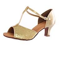 baratos Sapatilhas de Dança-Mulheres Materiais Customizados Salto Salto Alto Personalizável Sapatos de Dança Dourado / Prata / Interior