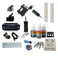 start tatoveringsett 1 x roterende tatoveringsmaskin til lining og skyggelegging LCD strømforsyning 5 x tatoveringsnål RL 3 komplett Kit