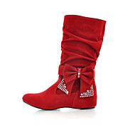 cheap -Women's Shoes Nubuck leather Spring / Fall Comfort / Novelty / Bootie Boots Wedge Heel Pointed Toe Mid-Calf Boots Bowknot / Sparkling