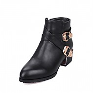 cheap Women's Boots-Women's Shoes Leatherette Winter Fall Comfort Novelty Combat Boots Boots Chunky Heel Pointed Toe Booties/Ankle Boots Buckle for Casual