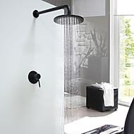 tanie Baterie prysznicowe-Modern / Contemporary Budowa prysznica Deszczownica Zawór ceramiczny Pojedynczy uchwyt jeden otwór Czarny, Bateria Prysznicowa