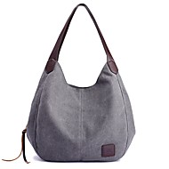 cheap Shoulder Bags-Women's Bags Canvas Shoulder Bag Zipper for Casual All Seasons Black Beige Gray Purple Coffee