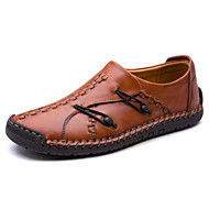 Men's Shoes Cowhide Fall Winter Moccasin Comfort Loafers & Slip-Ons Buckle For Casual Outdoor Light Brown Brown Black