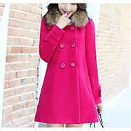 Feminino Casaco Casual Simples Outono Inverno,Sólido Padrão Poliéster Colarinho de Camisa Manga Longa