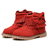 Girls' Shoes Leather Winter Fluff Lining Comfort First Walkers Snow Boots Boots Booties/Ankle Boots Bowknot Tassel For Wedding Dress Red