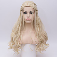 Women Synthetic Wig Game of Thrones Cosplay Wig Daenerys Targaryen Khalessi Long Curly Blonde Halloween Costume Wigs