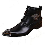Χαμηλού Κόστους Ανδρικά Οξφόρδης σχεδιαστών-Ανδρικά Νεωτεριστικά παπούτσια Νάπα Leather Φθινόπωρο / Χειμώνας Ανατομικό Μπότες Μποτίνια Μαύρο / Πάρτι & Βραδινή Έξοδος