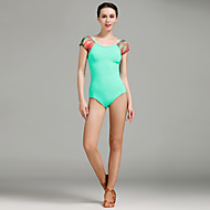 cheap Dancewear & Dance Shoes-Latin Dance Leotards Women's Performance Tulle Ice Silk Pattern/Print 1 Piece Short Sleeve Natural Leotard