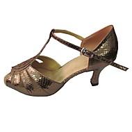 baratos Sapatilhas de Dança-Mulheres Sapatos de Dança Latina Sintético Sandália Salto Personalizado Sapatos de Dança Preto e Dourado / Prateado / Vermelho / Interior