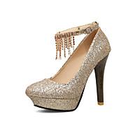 Femme Chaussures Polyuréthane Printemps Automne Confort Chaussures à Talons Gros Talon Bout rond Strass Chaîne Pour Or Argent Rouge