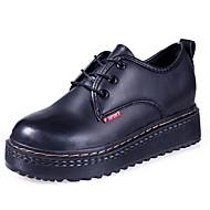 Kadın Ayakkabı PU Sonbahar Rahat Oxford Modeli Düşük Topuk Yuvarlak Uçlu Günlük için Bağcıklı Siyah Siyah/Kırmızı
