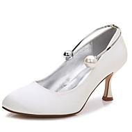 billige Bryllupssko-Dame Sko Sateng Vår / Sommer Komfort / Basispumps bryllup sko Liten hæl / Lav hæl / Stiletthæl Rund Tå Perle / Imitasjonsperle Blå /