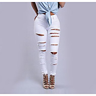 Feminino Simples Cintura Alta Micro-Elástica Jeans Calças,Delgado Sólido