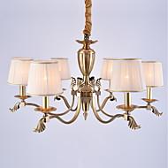 お買い得  シャンデリア-ヨーロッパ6頭リビングルーム/寝室/食堂の部屋/玄関のためのamercian古典的なスタイルの銅のシャンデリアランプ簡単な贅沢な照明器具