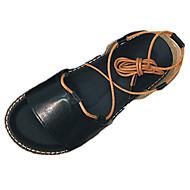 זול סנדלי נשים-נשים נעליים גומי קיץ נוחות סנדלים הליכה עקב שטוח שרוכים עבור לבן שחור