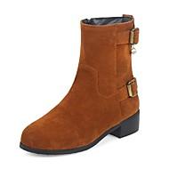 baratos Sapatos de Tamanho Pequeno-Mulheres Sapatos Pele Nobuck Inverno Outono Botas da Moda Coturnos Botas Salto Robusto Ponta Redonda Botas Cano Médio Pérolas Sintéticas