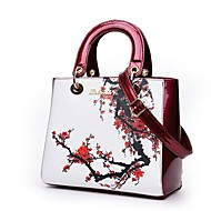 Women Bags All Seasons PU Shoulder Bag Pattern / Print for Casual Office & Career Blue Red Purple Light Green Wine