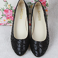 Women's Shoes PU Spring Fall Comfort Flats Flat Heel Round Toe For Casual Black Gold