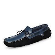Férfi cipő Valódi bőr Nappa Leather Bőr Tavasz Ősz Kényelmes Mokaszin Búvárcipő Vitorlás cipők Kompatibilitás Hétköznapi Fekete Kék
