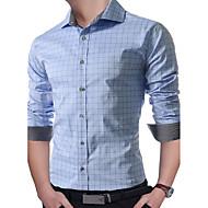 Majica Muške,Jednostavno Ležerno/za svaki dan Rad Print-Dugih rukava Kragna košulje-Proljeće Jesen Tanko Pamuk Poliester