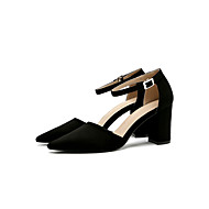 cheap Women's Heels-Women's Shoes Fabric Summer Fall Ankle Strap Heels Chunky Heel Pointed Toe Buckle for Dress Black Gray Khaki
