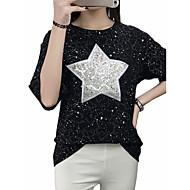 Feminino Camiseta Para Noite Casual Bandagem Tamanhos Grandes Moda de Rua Punk & Góticas Sofisticado Verão Outono,Bordado Acrílico Decote