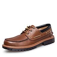 Férfi cipő Valódi bőr Nappa Leather Bőr Ősz Tél Kényelmes Formai cipő Búvárcipő Vitorlás cipők Fűző Kompatibilitás Hétköznapi Fekete Barna