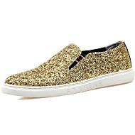baratos Sapatos de Tamanho Pequeno-Homens Gliter Outono / Inverno Conforto Mocassins e Slip-Ons Dourado / Preto / Prata / Festas & Noite