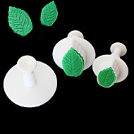 3 stk kage rose bladstemplet fondant dekorere sukker håndværk mold cutter værktøjer