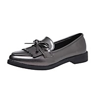 Women's Shoes PU Summer Light Soles Loafers & Slip-Ons Low Heel Pointed Toe Bowknot For Casual Wine Silver Black