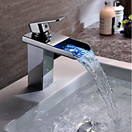 浴室のシンクの蛇口 - 滝/色を変更するクロム容器シングルハンドル1つの穴/真鍮led