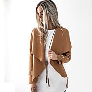 Feminino Casaco Longo Festa Trabalho Vintage Moda de Rua Outono Inverno,Sólido Padrão Algodão Acrílico Colarinho de Camisa Manga Longa