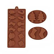 baratos Moldes para Bolos-boneco de neve natal árvores de chocolate molde de silicone bolinhos moldes fondant decoração do bolo