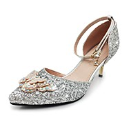 cheap Extended-Size Shoes-Women's Shoes Sparkling Glitter Paillette Spring Summer Basic Pump Ankle Strap Heels Stiletto Heel Pointed Toe Bowknot Sequin Sparkling