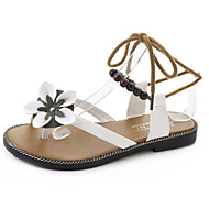 cheap Women's Sandals-Women's Shoes PU Spring Summer Comfort Light Soles Sandals Flat Heel Open Toe Lace-up Flower For Casual Dress Green Black White