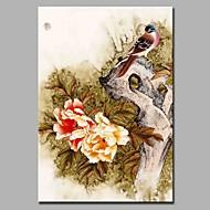 Pintados à mão Vintage Vertical,Artistíco Rústico Moderno/Contemporâneo Escritório/Negócio Natal Ano Novo 1 Painel Tela Estampado For