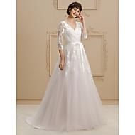 A-kroj Princeza V izrez Srednji šlep Čipka Til Prilagođene vjenčanice s Perlica Aplikacije Lente / Vrpce po LAN TING BRIDE®