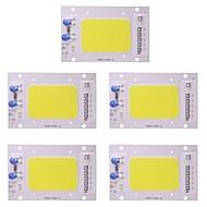 50w levou cob chip impermeável ip65 220v inteligente ic para diy holofote holofote quente / legal branco (5 pcs)