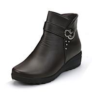 Feminino Sapatos Couro Ecológico Primavera Outono Inverno Conforto Coturnos Botas Salto Grosso Ponta Redonda Presilha Para Casual Preto