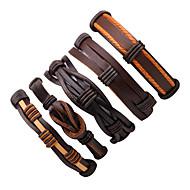 Homens Pulseiras de couro Enrole Pulseiras Multi-maneiras Wear Moda Pele Formato de Linha Jóias Para Para Noite Rua