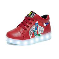baratos Sapatos de Menino-Para Meninos Sapatos Couro Ecológico Primavera Verão Conforto / Inovador / Tênis com LED Rasos Cadarço para Branco / Vermelho