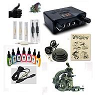 billige Tatoveringssett for nybegynnere-Tattoo Machine Startkit 1 x legering tatovering maskin for fôr og skyggelegging LED strømforsyning 5 x engangsgrep 5 stk tattoo Nåler