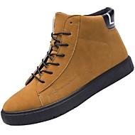 Masculino sapatos Camurça Outono Inverno Conforto Solados com Luzes Botas Botas Curtas / Ankle Cadarço Para Casual Preto Marron Cinzento
