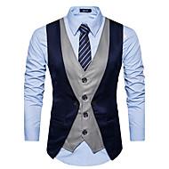 Heren Dagelijks Herfst / Winter Normaal Vest, Kleurenblok Zwart grijs V-hals Mouwloos Polyester Rood / Donkergrijs / Marineblauw L / XL / XXL / Slank