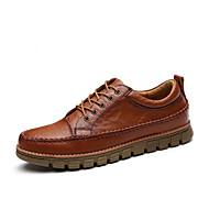 Masculino sapatos Couro Outono Conforto Oxfords Cadarço Para Casual Preto Marron Castanho Escuro